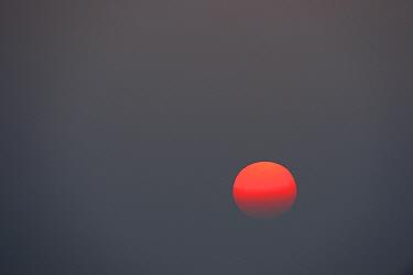 Sunset over Pulicat Lake, Tamil Nadu, India, January 2013.