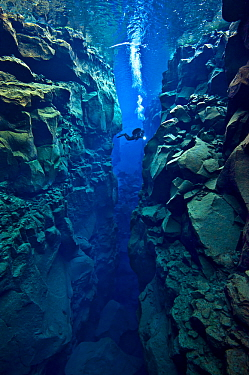 Diver explores the cathedral at Silfra Canyon, deep fault filled with fresh water in the rift valley between the Eurasian and American tectonic plates, at Thingvellir National Park, Iceland. May 2011....