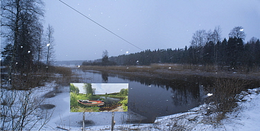 Landscape through changing seasons - photograph by Pal Hermansen 'The passage of time' of the same scene in summer,   Valer, Ostfold County, Norway. January 2015.