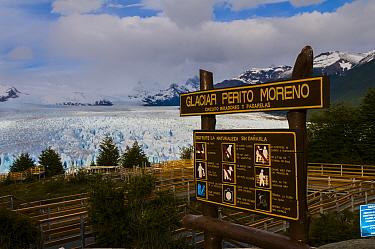 Look out point and sign with rules for visiting and viewing  Perito Moreno Glacier Parque Nacional , Los Glaciares, Santa Cruz, Patagonia Argentina