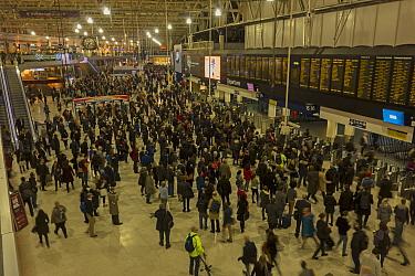 Waterloo Station London crowded at rush hour London, UK, November 2014.