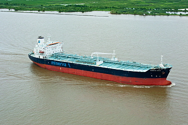 Aerial view of Minerva Virgo oil tanker / chemical tanker sailing along coastal waters, Louisiana, Gulf of Mexico, USA, August 2010