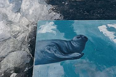 Painting of Baikal seal on Baikal ice, painted underwater, Lake Baikal, Siberia, Russia. March.