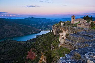 Siurana Church and Siurana Reservoir, Priorat area, Tarragona, Catalonia, Spain.