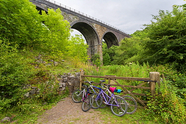 Bicycles parked near the Headstone Viaduct, part of the Monsal Trail cycle route, Peak District National Park, Derbyshire, UK July