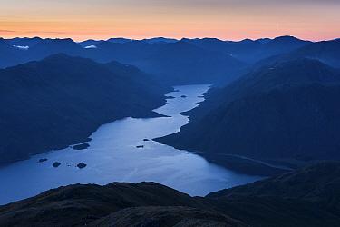 Dawn light with crescent moon, Loch Hourn, Knoydart, Highland, Scotland, UK, June 2016.