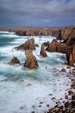 Sea stacks in stormy sea, Mangurstadh / Mangersta, Isle of Lewis, Outer Hebrides, Scotland, UK, April 2014.