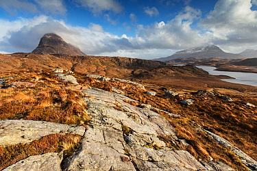 View towards Suilven, Fionn Loch and Cul Mor, Assynt, Scotland, Sutherland, Scotland, UK, February 2015.