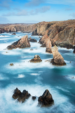 Sea stacks off Mangurstadh / Mangersta Beach, Isle of Lewis, Outer Hebrides, Scotland, UK, March 2015.
