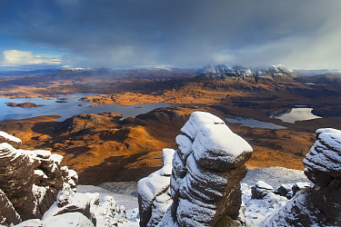 View from Stac Pollaidh towards Cul Mor and Suilven, Coigach, Highlands, Scotland, UK, November 2013.