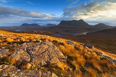 View from Stac Pollaidh towards Cul Mor and Suilven, Coigach and Assynt, Highlands, Scotland, UK, October 2013.