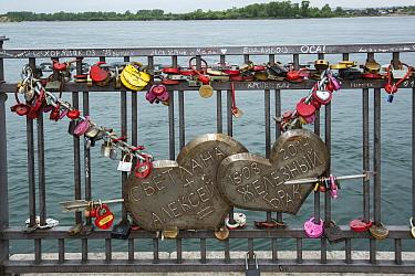 Love locks on a bridge in Irkutsk, Lake Baikal, Siberia, Russia.