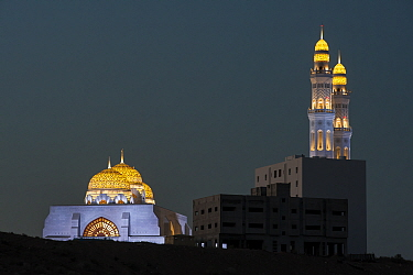 Mohammed Al Ameen Mosque at night, Muscat, Sultanate of Oman.