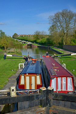 Narrow boats in a lock on the Kennet and Avon canal, Caen Hill, Devizes, Wiltshire, UK, April 2014.