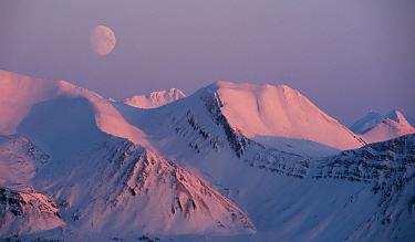 Bellsund with moon, Spitsbergen, Svalbard, Norway, March 2016.