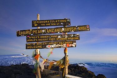 Sign at the summit of Mount Kilimanjaro, Uhuru Peak, Tanzania May 2008