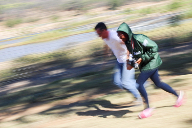 Pupils running, blurred motion photograph. Take by Prisence Mashaba during residential photography course organised by Wild Shots Outreach. Kruger National Park, South Africa, June 2017.