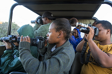 Pupils during residential photography course organised by Wild Shots Outreach. Kruger National Park, South Africa, June 2017.