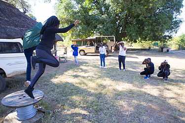 Pupils taking during residential photography course organised by Wild Shots Outreach. Kruger National Park, South Africa, June 2017.