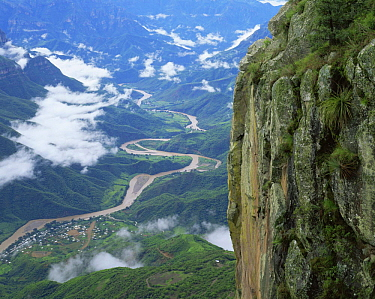 Aerial view of Urique Canyon after summer monsoonal rain, Barranca Del Cobre NP, Chihuahua, Mexico
