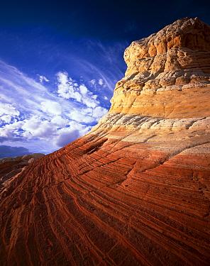 Eroded striated sandstone (petrified sand dunes), Vermilion Cliffs National Monumant, Colorado Plateau, Arizona, USA