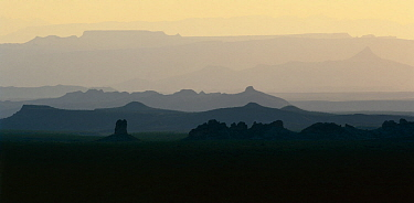 The Chimneys and Pona Mountain with ridges of the Santa Elena Canyon complex in the background, Big Bend National Park, Texas, USA