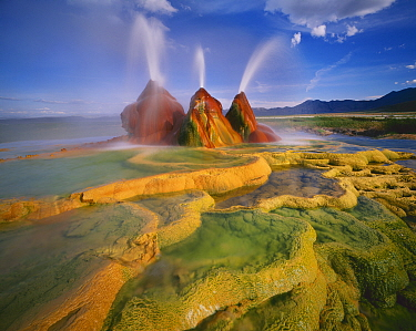 Scalding hot water continuously spouting behind layers of mineral deposits, Fly Geyser, Black Rock Desert, Great Basin Desert, Nevada, USA