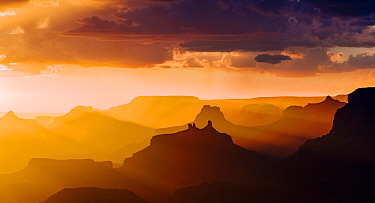 Lupan Point, looking west into sunset. Grand Canyon National Park, Arizona, USA, August.