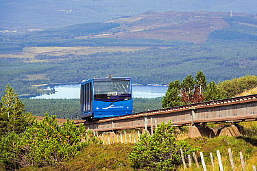 Carriage of the Cairngorm Mountain funicular, highest railway in the United Kingdom in the Cairngorms National Park, Scotland, UK, September 2016