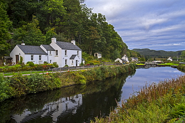 Village of Cairnbaan situated on the Crinan Canal, Argyll and Bute, western Scotland, UK, September 2016