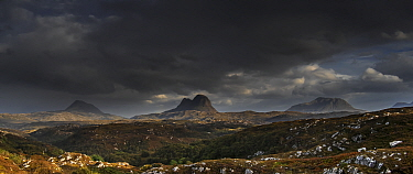 Storm clouds over Suilven Mountain,  Inverpolly National Nature Reserve, Sutherland, Scottish Highlands, Scotland, UK, September 2016.