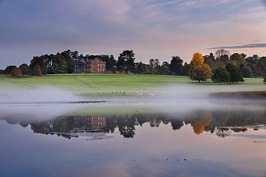 Berrington Hall reflected in lake at dawn, Herefordshire, England, UK, October 2015.