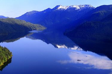 The Khutzeymateen Inlet and the sailboat 'Oceanlight II', Khutzeymateen Grizzly Bear Sanctuary, British Columbia, Canada, June 2013.