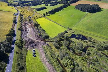 Re-meandering / Flood management work to slow water flow of Eddleston Water. Part of the Eddleston Water Project led by Tweed Forum, Cringletie, Peebles, Tweedale, Scotland, UK, August 2016.