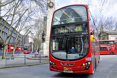 Number 476 red bus to Euston entering Euston Bus Station, London Borough of Camden, England, UK, March 2015.