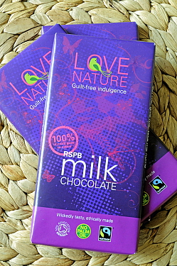 Ethical, organic Fairtrade or Fair Trade chocolate containing no palm oil made for the RSPB Royal Society for the Protection of Birds.