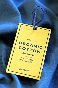 Organic Cotton Label on John Lewis T shirt, London, UK