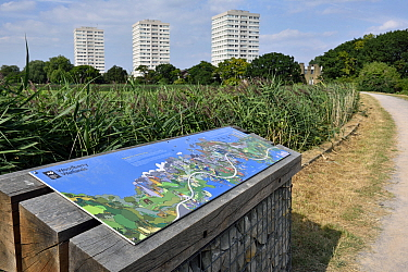 Map of urban nature reserve with tower blocks in distance, Woodberry Wetlands, formally Stoke Newington Reservoirs, Hackney, England. UK, August 2016.