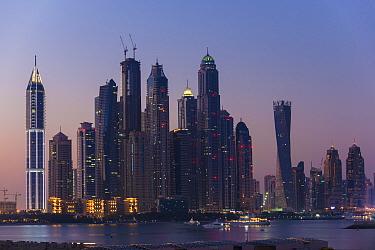 Dubai Marina skyline at twilight, Dubai, United Arab Emirates, November 2013.