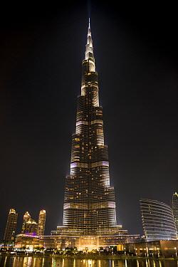 The Burj Khalifa, the tallest building in the world, lit up at night, Dubai, United Arab Emirates, November 2013.