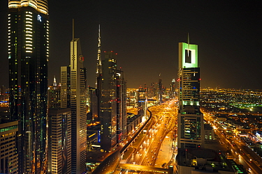 Dubai city at night. Dubai, United Arab Emirates, November 2013.
