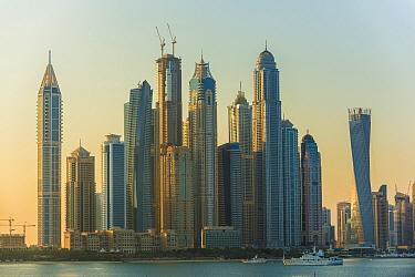Dubai Marina skyline at dawn, Dubai, United Arab Emirates, November 2011.