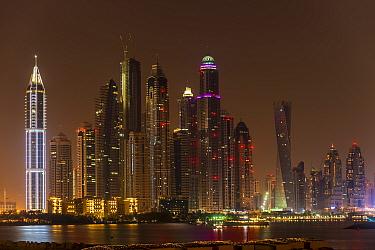 Dubai Marina skyline at night, Dubai, United Arab Emirates. November 2013.
