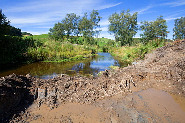 Excavation works being carried out along river as part of re-naturalisation of river course to reduce flooding. Part of Eddleston Water Project led by Tweed Forum, Peebles, Tweeddale, Scotland, UK, Ju...
