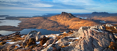 Stac Pollaidh, Cul Mor and Suilven, view north from Sgorr Tuath, Coigach and Assynt, Scotland, UK, March  2017