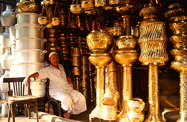 Brass stall in the bazaar, Cairo, Egypt