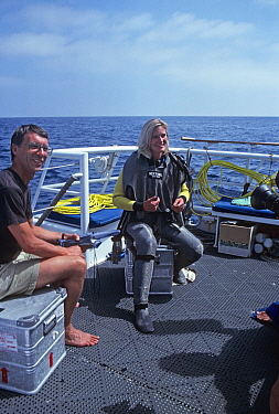 Robin Hellier and Martha Holmes, on board boat filming for BBC NHU Seatrek