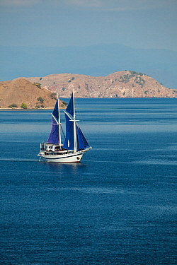 View of sailboat in bay at Gili Lawa Dalat near Komodo Island, Indonesia 2009