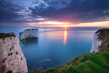 Sunrise over Old Harry Rocks, Jurassic Coast, Dorset, England. April 2012.