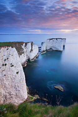 Dawn over Old Harry Rocks on the Jurassic Coast, Dorset, England. April 2012.